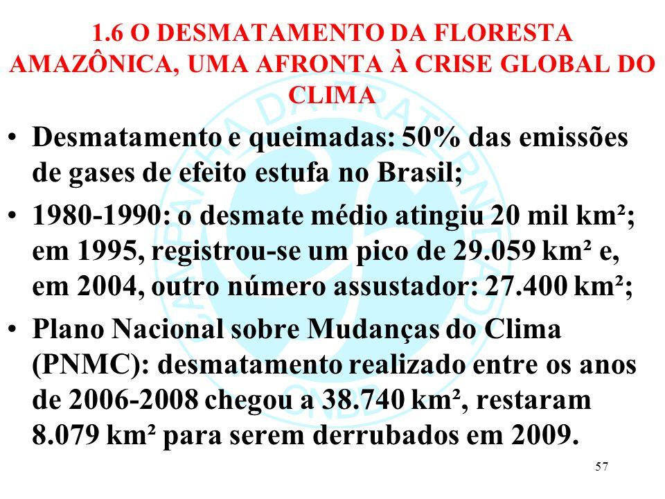 1.6 O DESMATAMENTO DA FLORESTA AMAZÔNICA, UMA AFRONTA À CRISE GLOBAL DO CLIMA Desmatamento e queimadas: 50% das emissões de gases de efeito estufa no