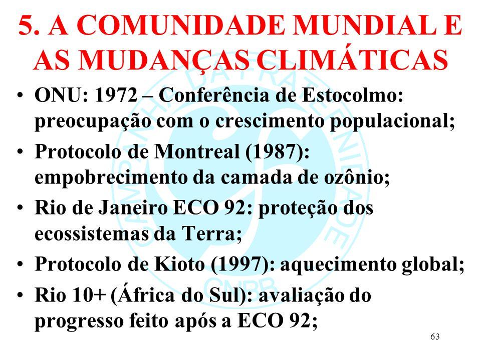 5. A COMUNIDADE MUNDIAL E AS MUDANÇAS CLIMÁTICAS ONU: 1972 – Conferência de Estocolmo: preocupação com o crescimento populacional; Protocolo de Montre