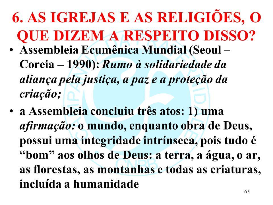 6. AS IGREJAS E AS RELIGIÕES, O QUE DIZEM A RESPEITO DISSO? Assembleia Ecumênica Mundial (Seoul – Coreia – 1990): Rumo à solidariedade da aliança pela