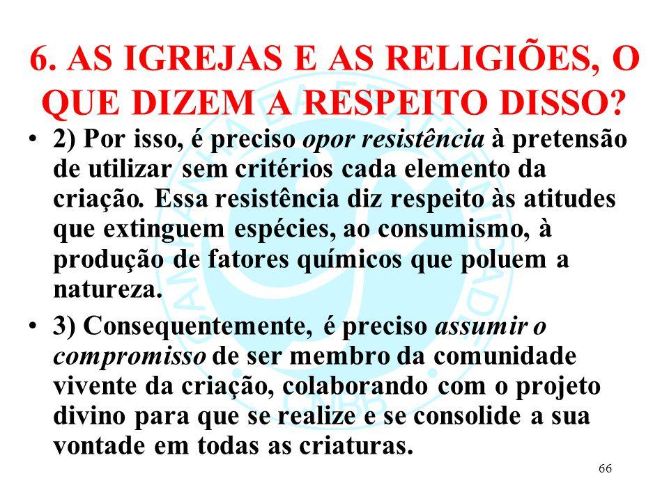 6. AS IGREJAS E AS RELIGIÕES, O QUE DIZEM A RESPEITO DISSO? 2) Por isso, é preciso opor resistência à pretensão de utilizar sem critérios cada element