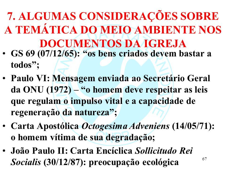 7. ALGUMAS CONSIDERAÇÕES SOBRE A TEMÁTICA DO MEIO AMBIENTE NOS DOCUMENTOS DA IGREJA GS 69 (07/12/65): os bens criados devem bastar a todos; Paulo VI: