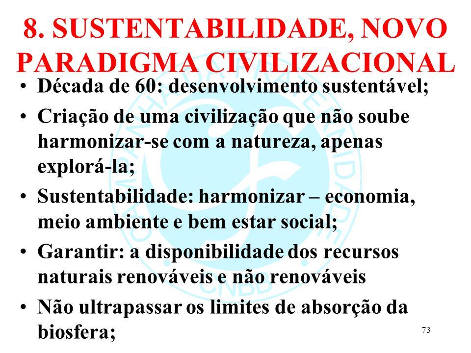 8. SUSTENTABILIDADE, NOVO PARADIGMA CIVILIZACIONAL Década de 60: desenvolvimento sustentável; Criação de uma civilização que não soube harmonizar-se c