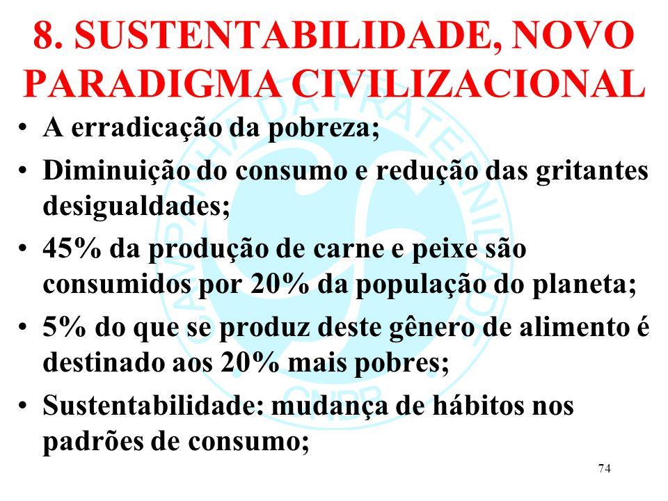 8. SUSTENTABILIDADE, NOVO PARADIGMA CIVILIZACIONAL A erradicação da pobreza; Diminuição do consumo e redução das gritantes desigualdades; 45% da produ