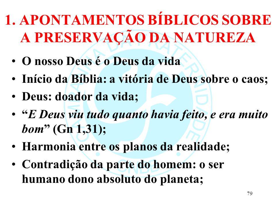 1. APONTAMENTOS BÍBLICOS SOBRE A PRESERVAÇÃO DA NATUREZA O nosso Deus é o Deus da vida Início da Bíblia: a vitória de Deus sobre o caos; Deus: doador