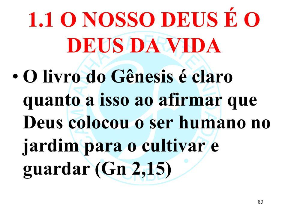 1.1 O NOSSO DEUS É O DEUS DA VIDA O livro do Gênesis é claro quanto a isso ao afirmar que Deus colocou o ser humano no jardim para o cultivar e guarda