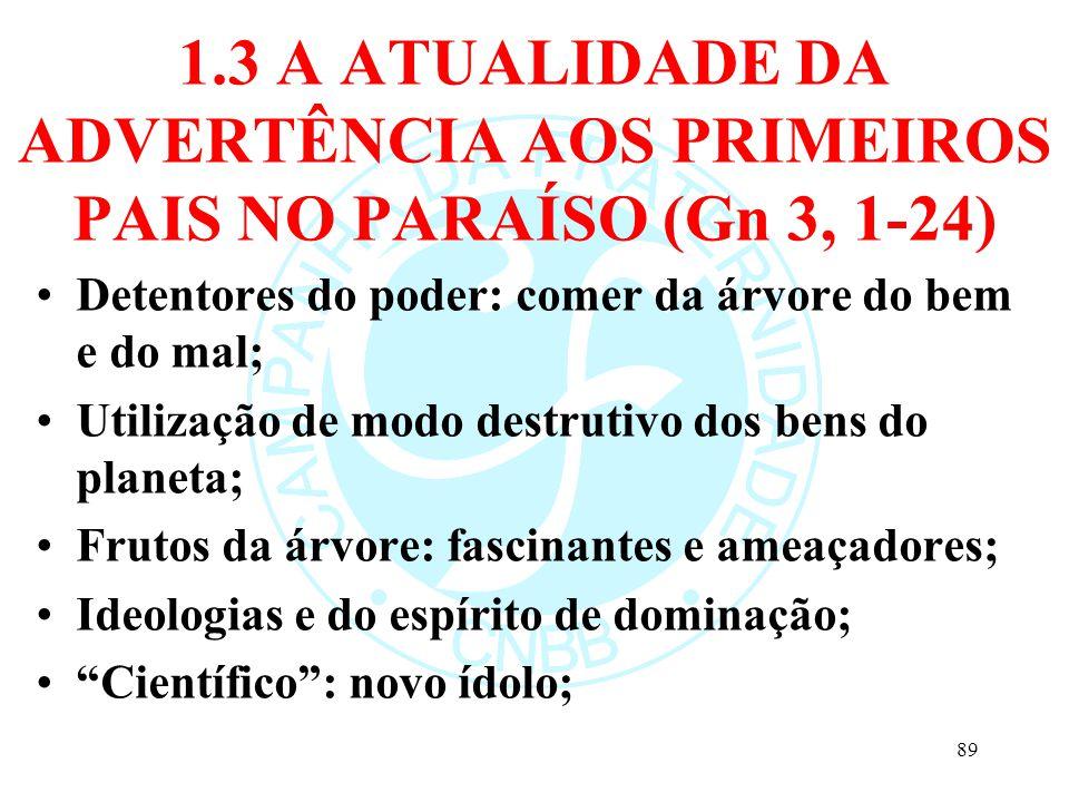 1.3 A ATUALIDADE DA ADVERTÊNCIA AOS PRIMEIROS PAIS NO PARAÍSO (Gn 3, 1-24) Detentores do poder: comer da árvore do bem e do mal; Utilização de modo de