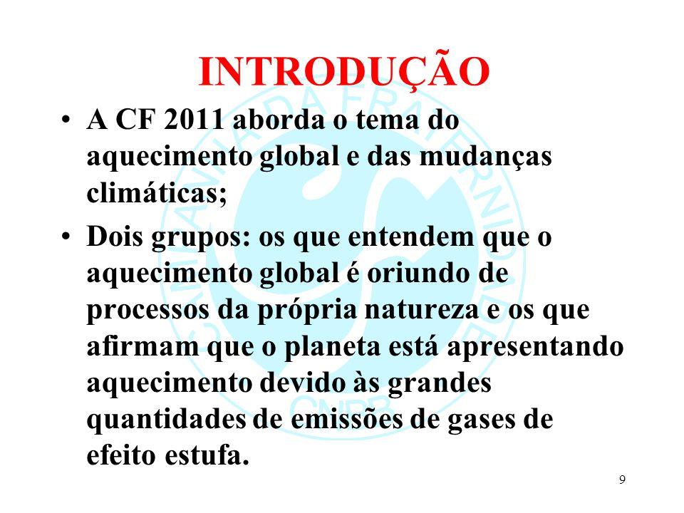 INTRODUÇÃO A CF 2011 aborda o tema do aquecimento global e das mudanças climáticas; Dois grupos: os que entendem que o aquecimento global é oriundo de