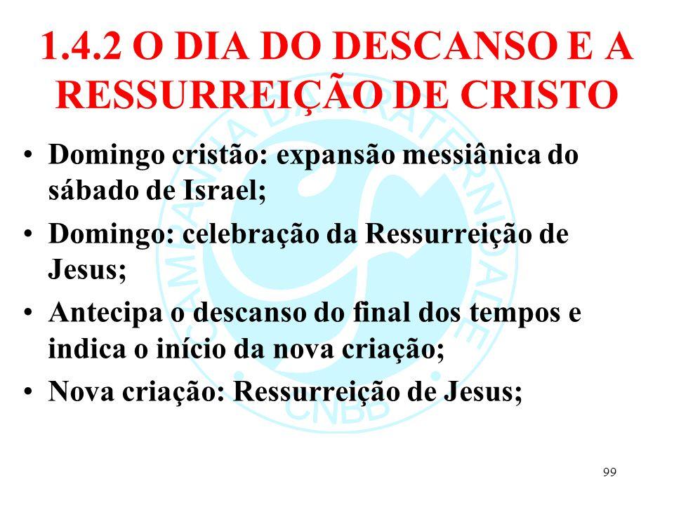 1.4.2 O DIA DO DESCANSO E A RESSURREIÇÃO DE CRISTO Domingo cristão: expansão messiânica do sábado de Israel; Domingo: celebração da Ressurreição de Je