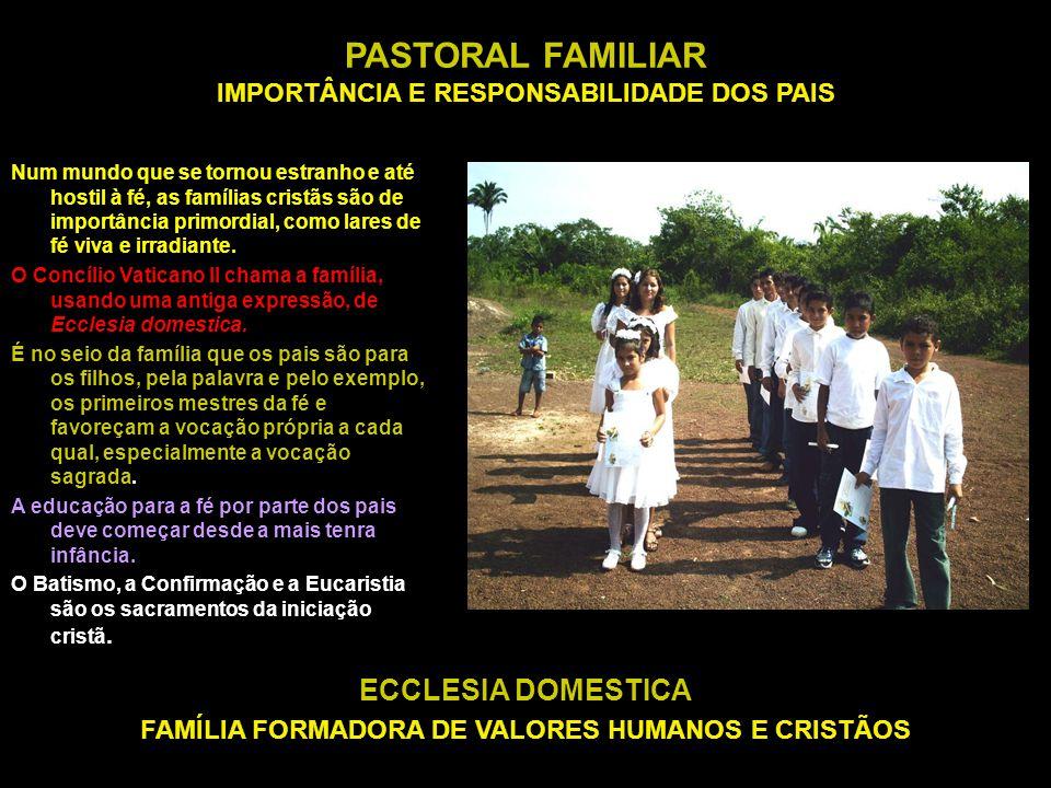 PASTORAL FAMILIAR IMPORTÂNCIA E RESPONSABILIDADE DOS PAIS ECCLESIA DOMESTICA FAMÍLIA FORMADORA DE VALORES HUMANOS E CRISTÃOS Num mundo que se tornou e