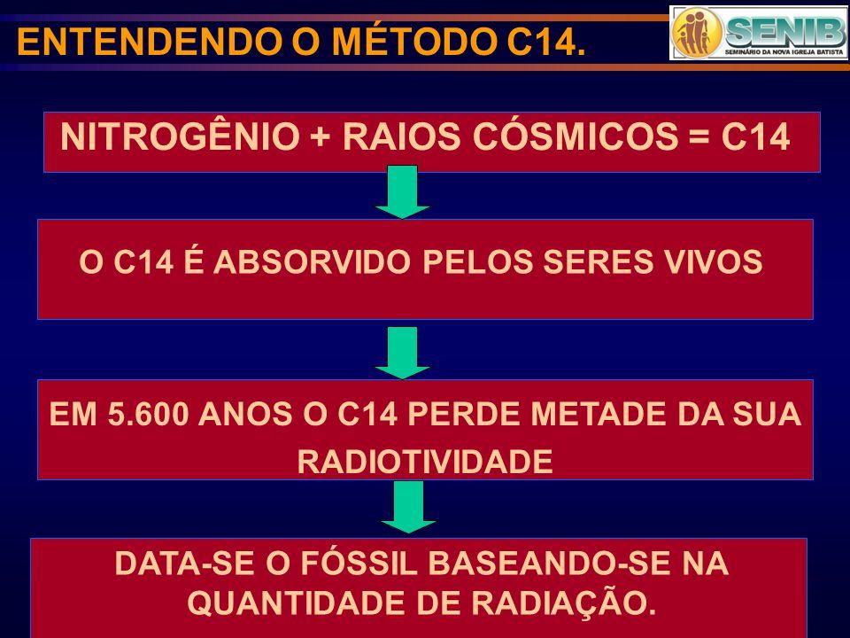 NITROGÊNIO + RAIOS CÓSMICOS = C14 ENTENDENDO O MÉTODO C14. O C14 É ABSORVIDO PELOS SERES VIVOS EM 5.600 ANOS O C14 PERDE METADE DA SUA RADIOTIVIDADE D