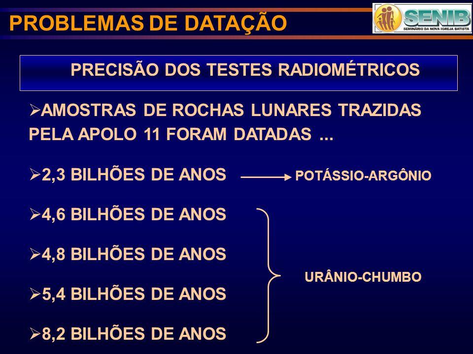 PRECISÃO DOS TESTES RADIOMÉTRICOS AMOSTRAS DE ROCHAS LUNARES TRAZIDAS PELA APOLO 11 FORAM DATADAS... 2,3 BILHÕES DE ANOS POTÁSSIO-ARGÔNIO 4,6 BILHÕES