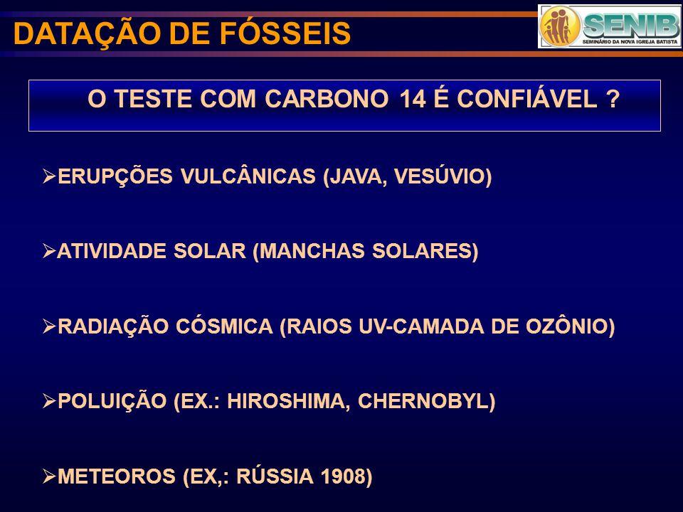 O TESTE COM CARBONO 14 É CONFIÁVEL ? ERUPÇÕES VULCÂNICAS (JAVA, VESÚVIO) ATIVIDADE SOLAR (MANCHAS SOLARES) RADIAÇÃO CÓSMICA (RAIOS UV-CAMADA DE OZÔNIO