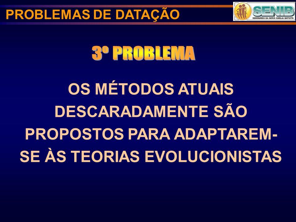 OS MÉTODOS ATUAIS DESCARADAMENTE SÃO PROPOSTOS PARA ADAPTAREM- SE ÀS TEORIAS EVOLUCIONISTAS PROBLEMAS DE DATAÇÃO