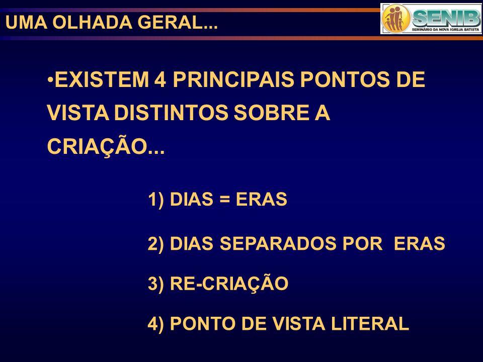 UMA OLHADA GERAL... 1) DIAS = ERAS 2) DIAS SEPARADOS POR ERAS 3) RE-CRIAÇÃO 4) PONTO DE VISTA LITERAL EXISTEM 4 PRINCIPAIS PONTOS DE VISTA DISTINTOS S