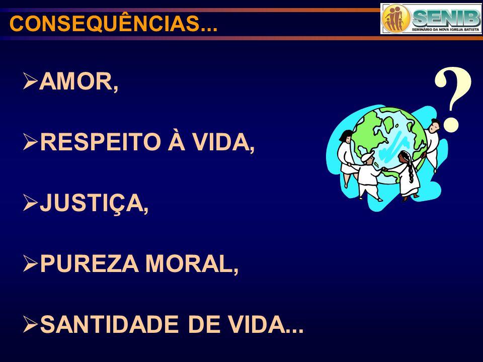 AMOR, RESPEITO À VIDA, JUSTIÇA, PUREZA MORAL, SANTIDADE DE VIDA... ? CONSEQUÊNCIAS...