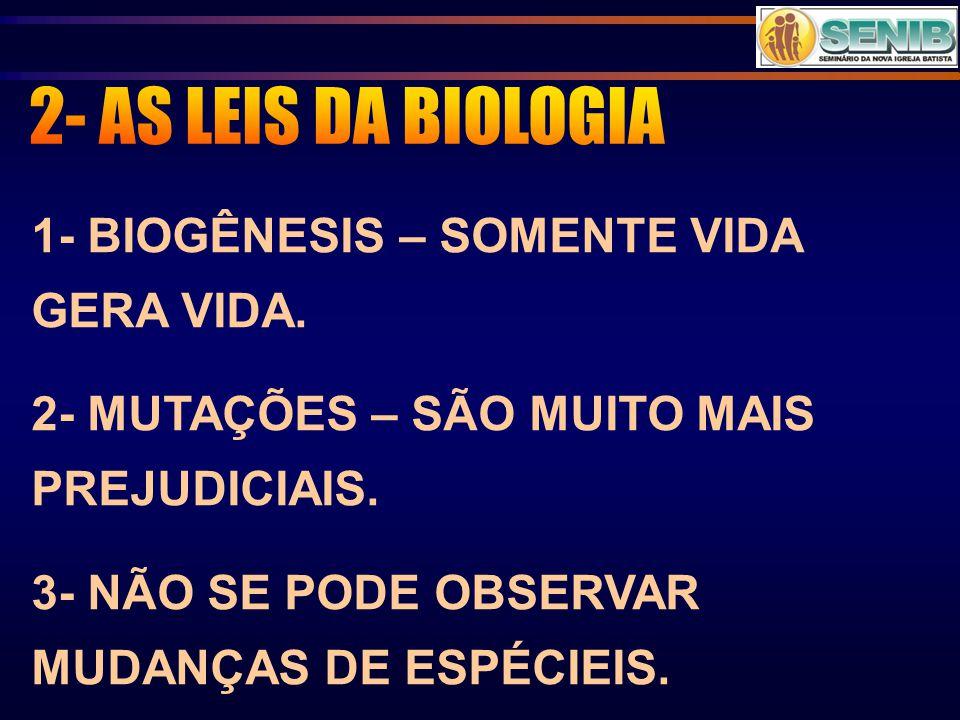 1- BIOGÊNESIS – SOMENTE VIDA GERA VIDA. 2- MUTAÇÕES – SÃO MUITO MAIS PREJUDICIAIS. 3- NÃO SE PODE OBSERVAR MUDANÇAS DE ESPÉCIEIS.