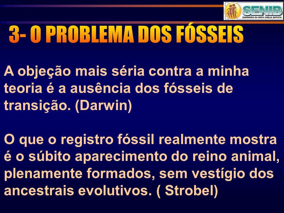 A objeção mais séria contra a minha teoria é a ausência dos fósseis de transição. (Darwin) O que o registro fóssil realmente mostra é o súbito apareci