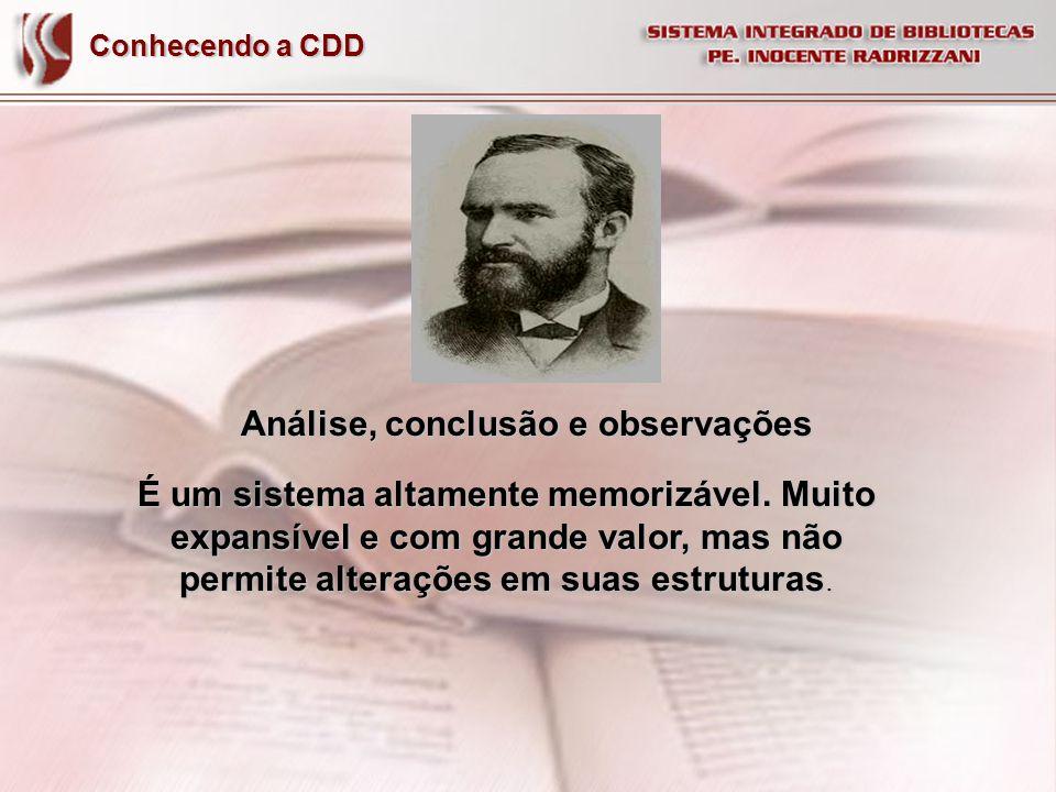 Conhecendo a CDD Análise, conclusão e observações É um sistema altamente memorizável. Muito expansível e com grande valor, mas não permite alterações