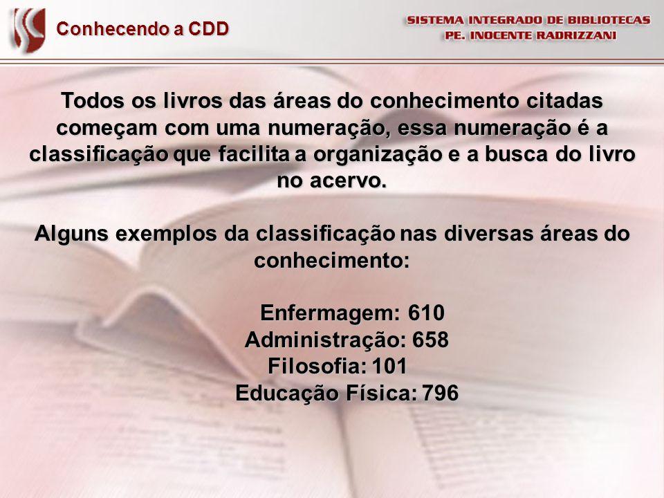 Conhecendo a CDD Todos os livros das áreas do conhecimento citadas começam com uma numeração, essa numeração é a classificação que facilita a organiza