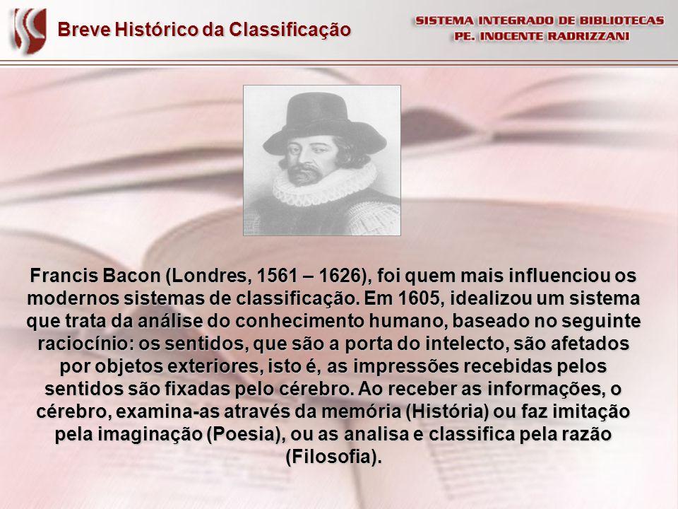 Breve Histórico da Classificação Francis Bacon (Londres, 1561 – 1626), foi quem mais influenciou os modernos sistemas de classificação. Em 1605, ideal