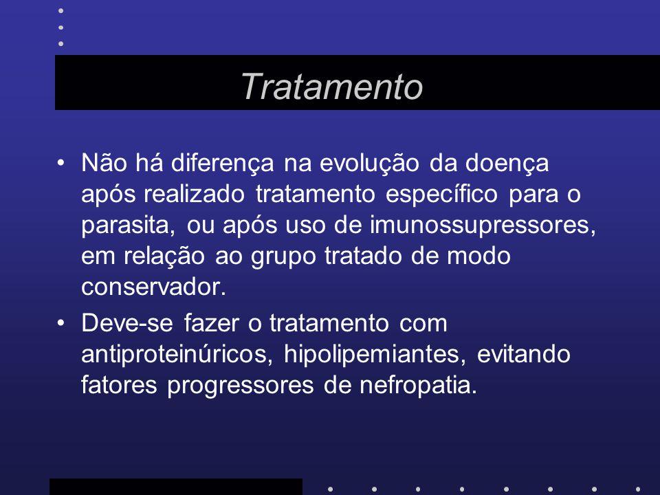 Tratamento Não há diferença na evolução da doença após realizado tratamento específico para o parasita, ou após uso de imunossupressores, em relação a