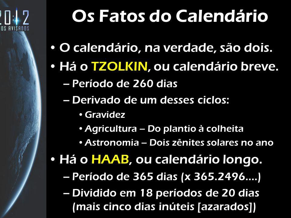 Os Fatos do Calendário O calendário, na verdade, são dois. Há o TZOLKIN, ou calendário breve. –Período de 260 dias –Derivado de um desses ciclos: Grav