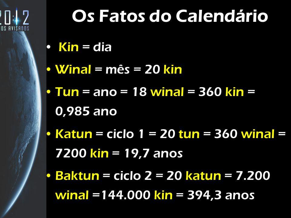 8 Os Fatos do Calendário Kin = dia Winal = mês = 20 kin Tun = ano = 18 winal = 360 kin = 0,985 ano Katun = ciclo 1 = 20 tun = 360 winal = 7200 kin = 1