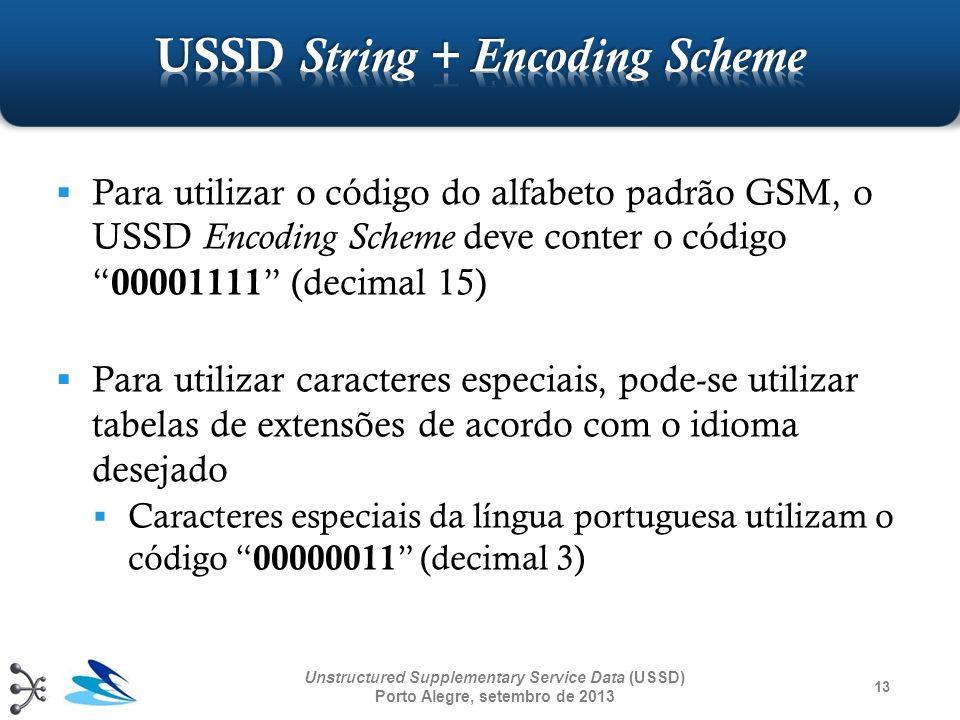 13 Unstructured Supplementary Service Data (USSD) Porto Alegre, setembro de 2013 Para utilizar o código do alfabeto padrão GSM, o USSD Encoding Scheme