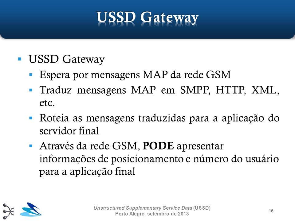 16 Unstructured Supplementary Service Data (USSD) Porto Alegre, setembro de 2013 USSD Gateway Espera por mensagens MAP da rede GSM Traduz mensagens MA