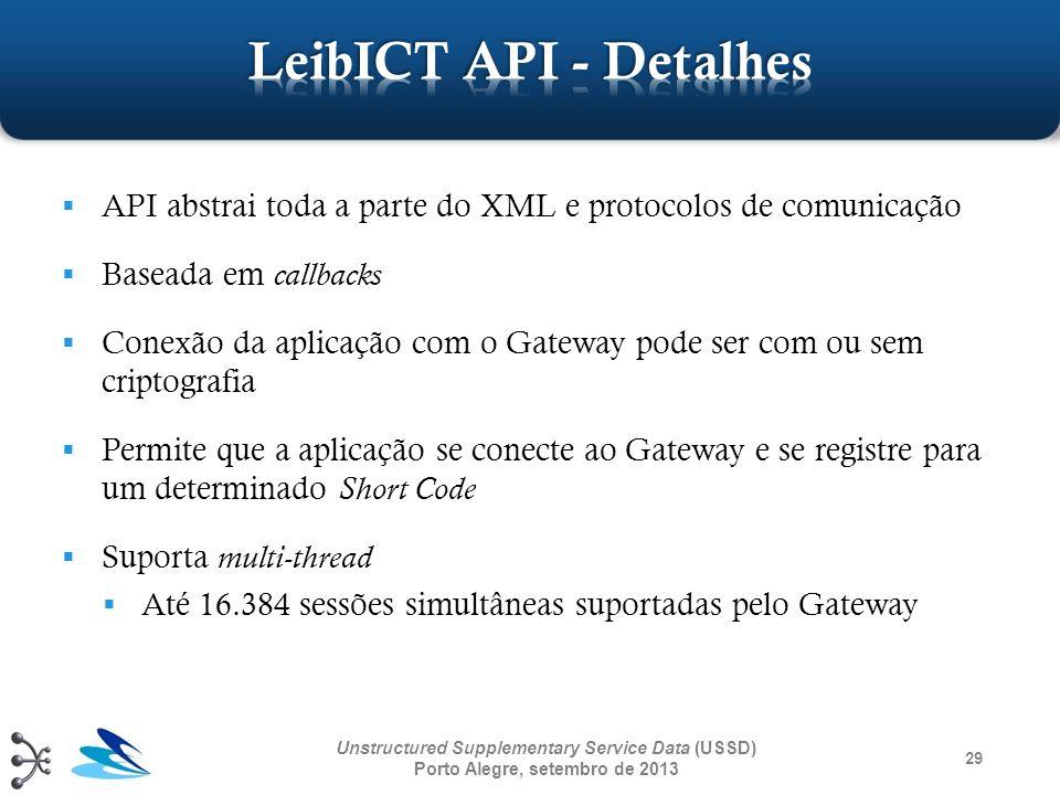 29 Unstructured Supplementary Service Data (USSD) Porto Alegre, setembro de 2013 API abstrai toda a parte do XML e protocolos de comunicação Baseada e