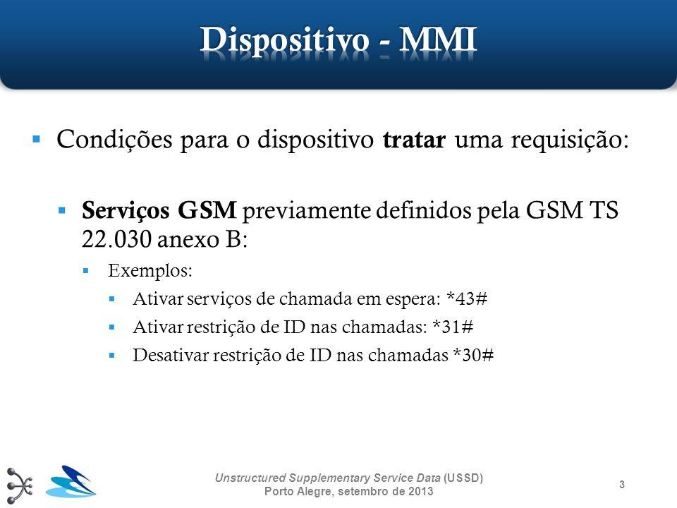 3 Condições para o dispositivo tratar uma requisição: Serviços GSM previamente definidos pela GSM TS 22.030 anexo B: Exemplos: Ativar serviços de cham