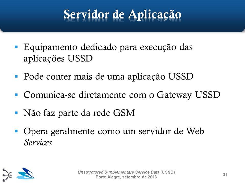 31 Unstructured Supplementary Service Data (USSD) Porto Alegre, setembro de 2013 Equipamento dedicado para execução das aplicações USSD Pode conter ma