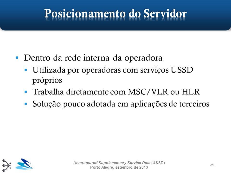 32 Unstructured Supplementary Service Data (USSD) Porto Alegre, setembro de 2013 Dentro da rede interna da operadora Utilizada por operadoras com serv