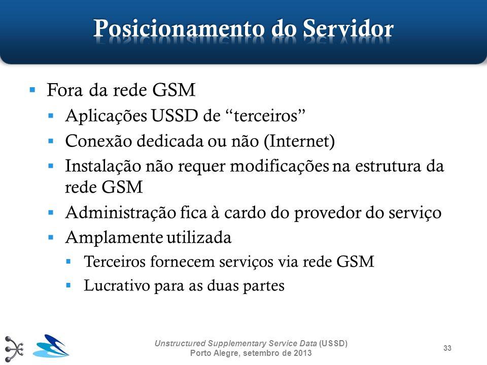 33 Unstructured Supplementary Service Data (USSD) Porto Alegre, setembro de 2013 Fora da rede GSM Aplicações USSD de terceiros Conexão dedicada ou não