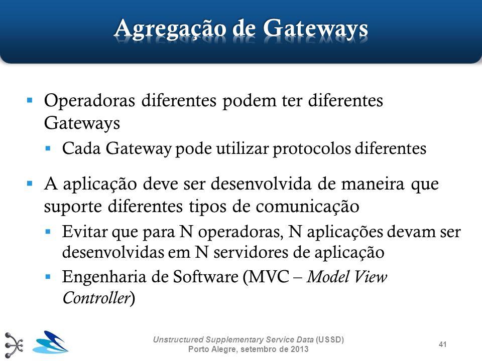 41 Unstructured Supplementary Service Data (USSD) Porto Alegre, setembro de 2013 Operadoras diferentes podem ter diferentes Gateways Cada Gateway pode