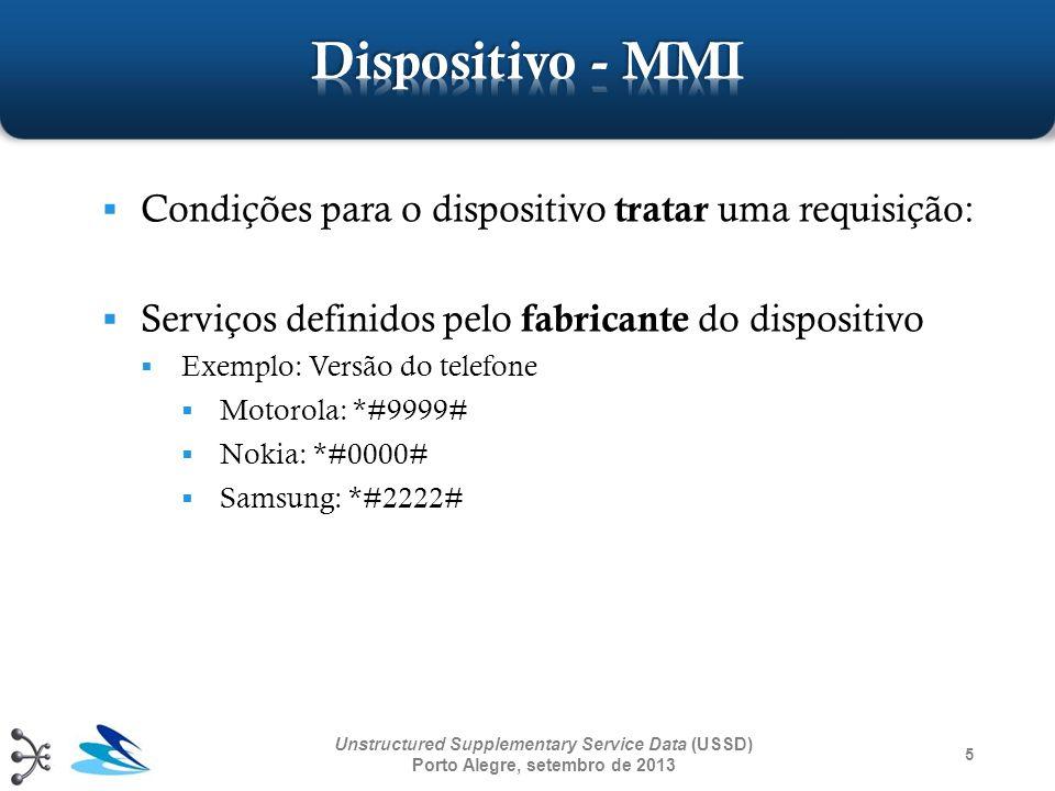46 Unstructured Supplementary Service Data (USSD) Porto Alegre, setembro de 2013 Mensagens de texto (menus, questões, respostas) entre uma aplicação USSD e um usuário utilizam serviços MAP MAP_PROCESS_UNSTRUCTURED_SS_REQUEST MAP_UNSTRUCTURED_SS_REQUEST MAP_UNSTRUCTURED_SS_NOTIFY Serviços MAP são definidos pela norma 3GPP TS 29.002