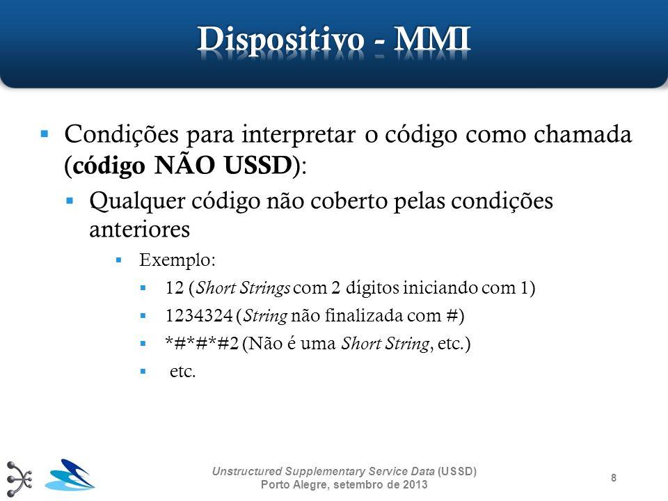 9 Unstructured Supplementary Service Data (USSD) Porto Alegre, setembro de 2013 Parâmetro responsável por detalhar o alfabeto e o idioma utilizado na informação em uma operação USSD Codificação de acordo com a seção Cell Broadcast Data Coding Scheme da 3GPP TS 23.038 Para utilizar o alfabeto padrão GSM 7-bit, o valor do parâmetro é 00001111 (decimal 15)