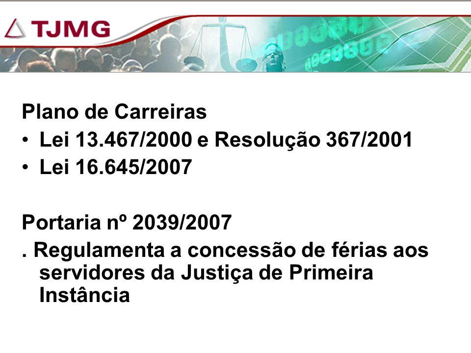 Plano de Carreiras Lei 13.467/2000 e Resolução 367/2001 Lei 16.645/2007 Portaria nº 2039/2007. Regulamenta a concessão de férias aos servidores da Jus