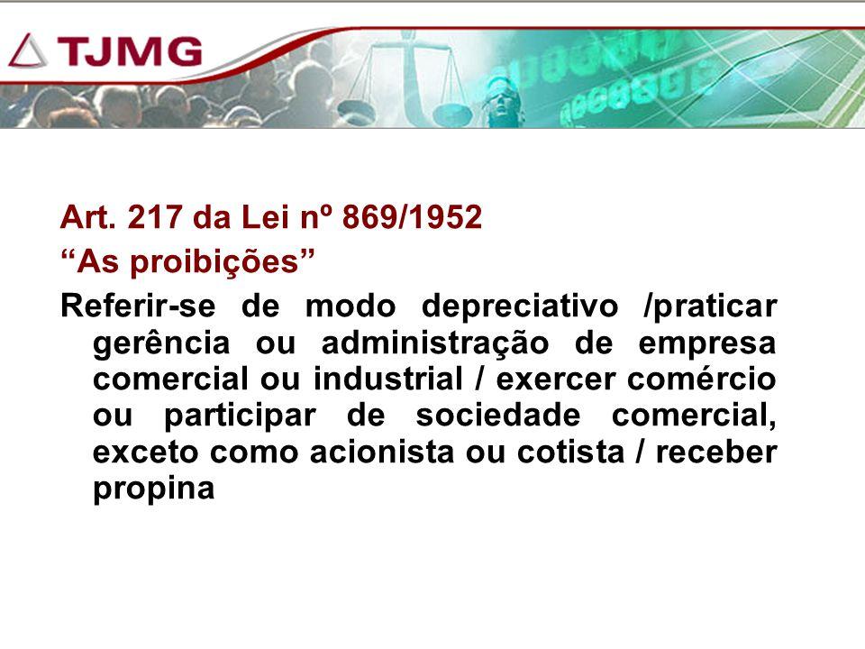 Art. 217 da Lei nº 869/1952 As proibições Referir-se de modo depreciativo /praticar gerência ou administração de empresa comercial ou industrial / exe