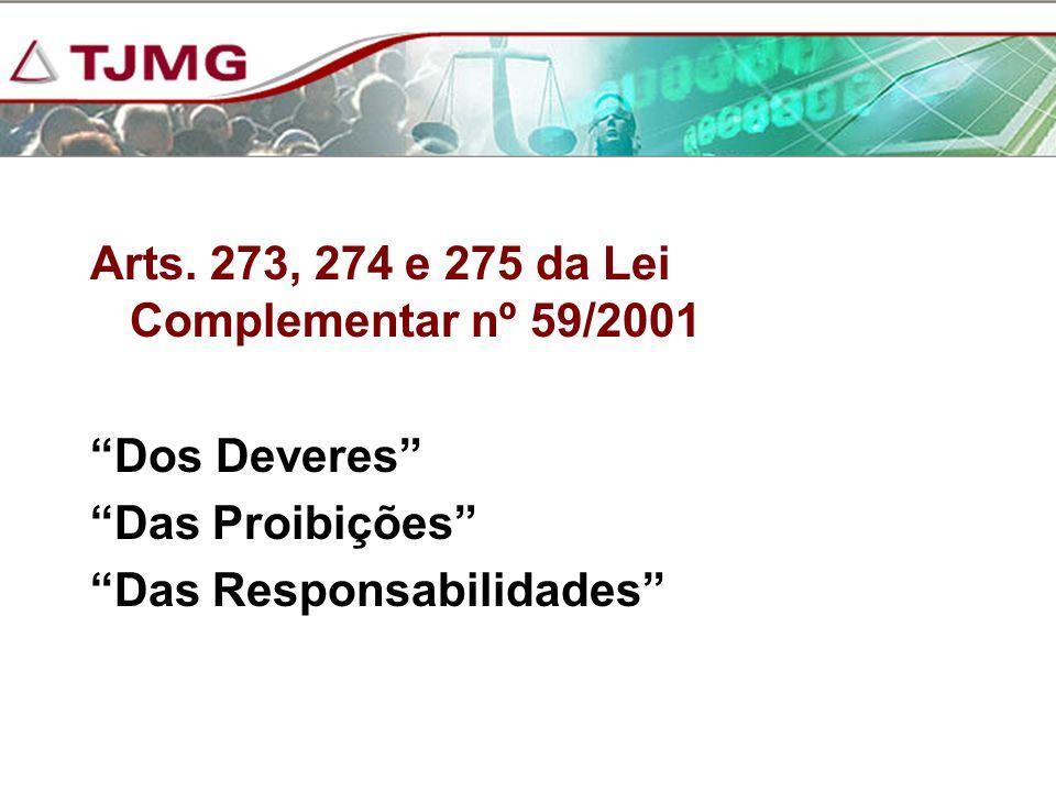 Arts. 273, 274 e 275 da Lei Complementar nº 59/2001 Dos Deveres Das Proibições Das Responsabilidades
