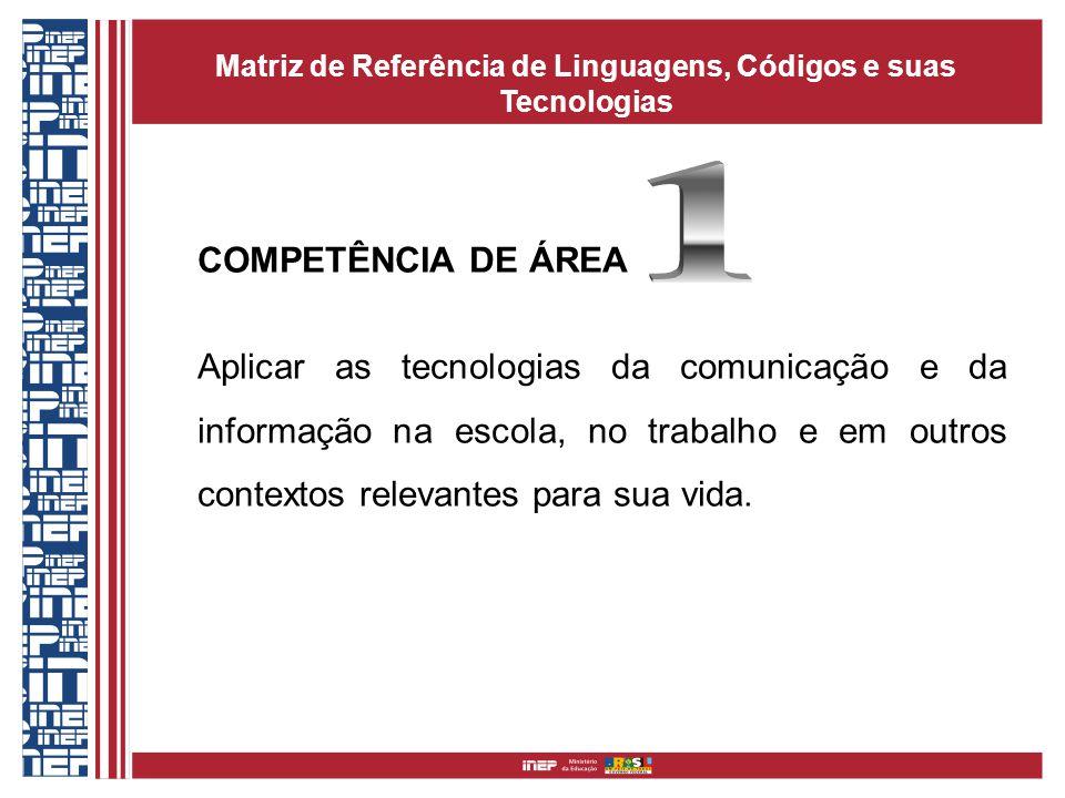COMPETÊNCIA DE ÁREA Aplicar as tecnologias da comunicação e da informação na escola, no trabalho e em outros contextos relevantes para sua vida. Matri
