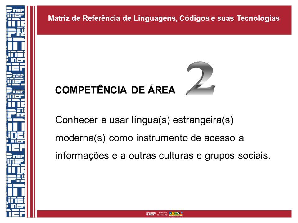 COMPETÊNCIA DE ÁREA Conhecer e usar língua(s) estrangeira(s) moderna(s) como instrumento de acesso a informações e a outras culturas e grupos sociais.