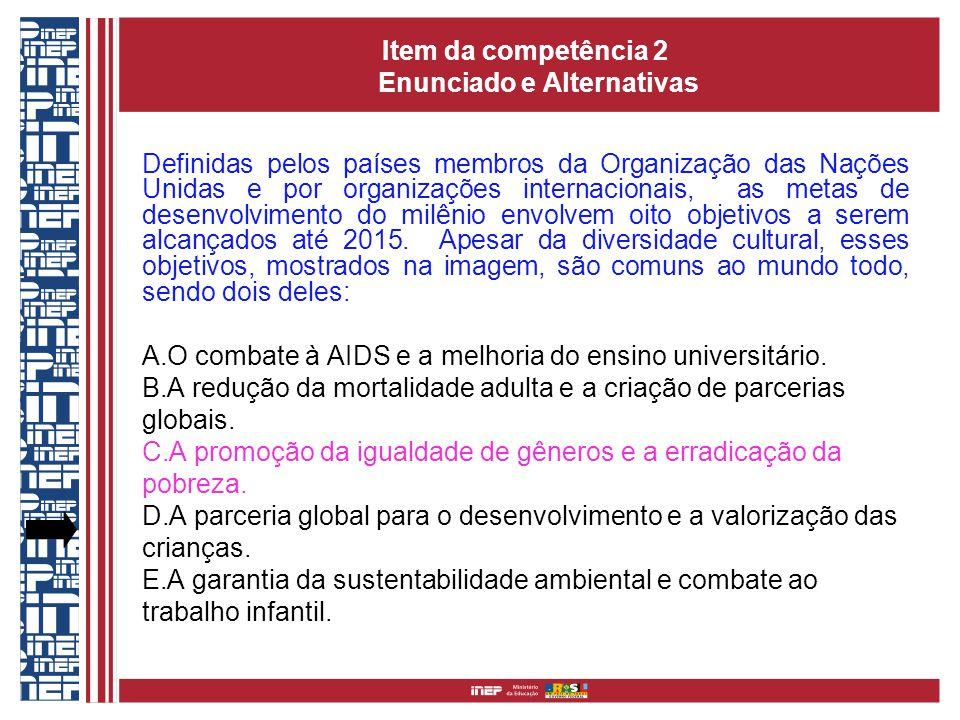 Item da competência 2 Enunciado e Alternativas Definidas pelos países membros da Organização das Nações Unidas e por organizações internacionais, as metas de desenvolvimento do milênio envolvem oito objetivos a serem alcançados até 2015.