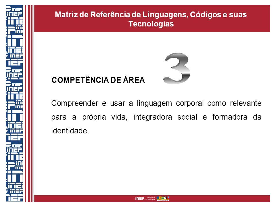 Matriz de Referência de Linguagens, Códigos e suas Tecnologias COMPETÊNCIA DE ÁREA Compreender e usar a linguagem corporal como relevante para a própr