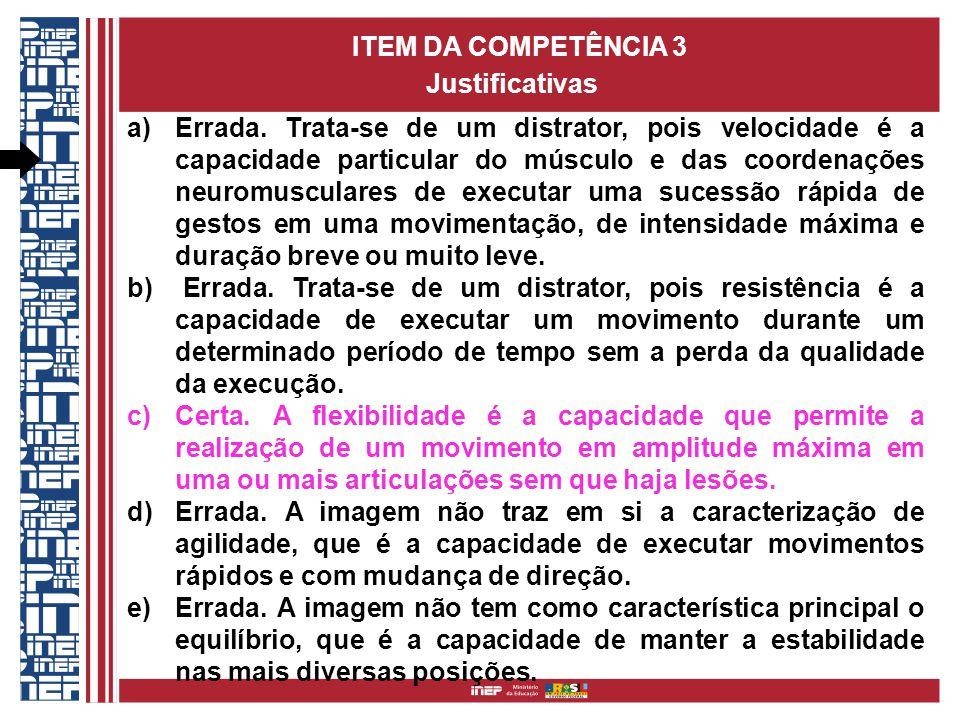 ITEM DA COMPETÊNCIA 3 Justificativas a)Errada.
