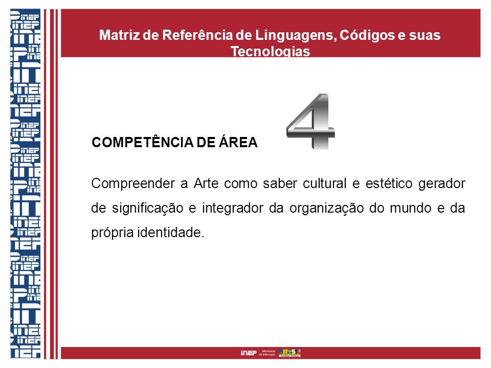 COMPETÊNCIA DE ÁREA Compreender a Arte como saber cultural e estético gerador de significação e integrador da organização do mundo e da própria identidade.