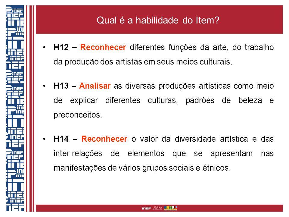 Qual é a habilidade do Item? H12 – Reconhecer diferentes funções da arte, do trabalho da produção dos artistas em seus meios culturais. H13 – Analisar