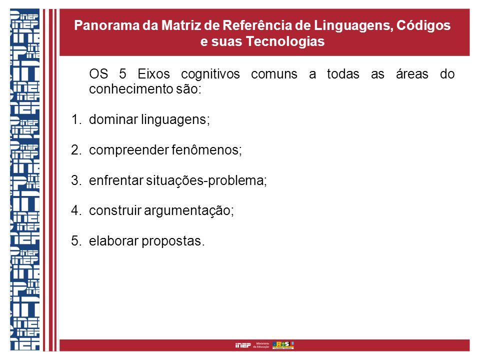 Panorama da Matriz de Referência de Linguagens, Códigos e suas Tecnologias OS 5 Eixos cognitivos comuns a todas as áreas do conhecimento são: 1.domina