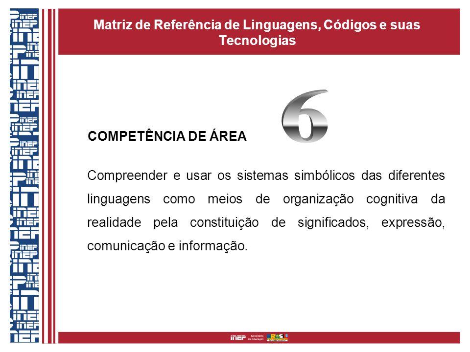 Matriz de Referência de Linguagens, Códigos e suas Tecnologias COMPETÊNCIA DE ÁREA Compreender e usar os sistemas simbólicos das diferentes linguagens
