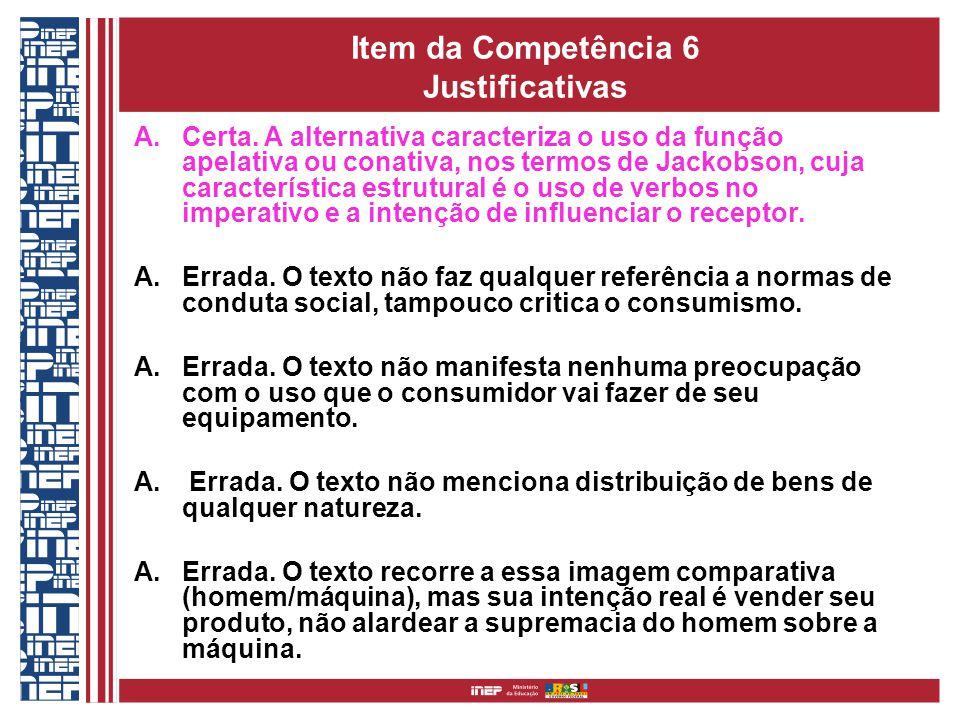 Item da Competência 6 Justificativas A.Certa.